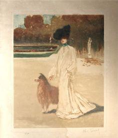 Louis Abel-Truchet (1857-1918), Elégante dans un Parc.