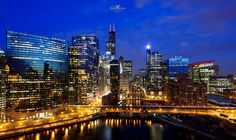 Chicago River Night Landscape