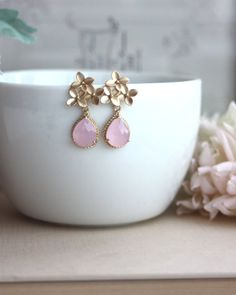 Pink Opal Gold Glass Dangle by Marolsha Gold Bridal Earrings, Bridesmaid Earrings, Bridesmaid Gifts, Stone Earrings, Flower Earrings, Dangle Earrings, Floral Headbands, Gold Glass, Pink Opal