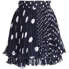 Gianni Versace Skirt Vintage Navy White Polka Dot Pleated  38 /4  | From a collection of rare vintage skirts at https://www.1stdibs.com/fashion/clothing/skirts/