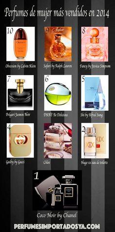 Los 10 perfumes de mujer más vendidos en 2014. #perfumes #fragancias