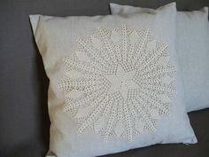 Decorative 17x17 Pillowcase, Crochet Appliqued Sofa Pillow Cover, Wedding Couple Gift Idea, Rustic Bedding Decor
