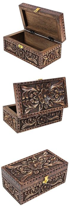 Handmade Wooden Jewelry Keepsake Box Dressing Table Accessory Organizer