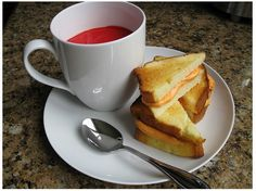 Great for April Fools or Birthday etc.! Pound cake toasted and frosted with cheese tinted frosting - tomato soup is vanilla pudding tinted red.