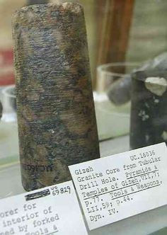 Granite core from Giza of Dynasty date. The Petrie Museum, Photograph by Jon Bodsworth The Egypt Archive) Note: Higher Res. Ancient Egyptian Stoneworking Tools and Methods: Copper coring drills Ancient Aliens, Ancient Egypt, Ancient History, Lost Technology, Iron Age, Stone Work, Ancient Artifacts, Prehistoric, Archaeology