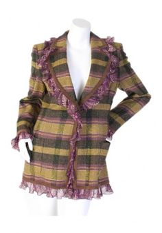 Details:   Size 42  Purple paisley ruffles outlining the collar, as well as, the bottom of the jacket.   Material: 90% wool, 5% nylon, 5% mohair Lining: 100% rayon  Measurements: Length: Shoulder-to-shoulder:   Single button closure – vibrant textured purple button  Condition:   New