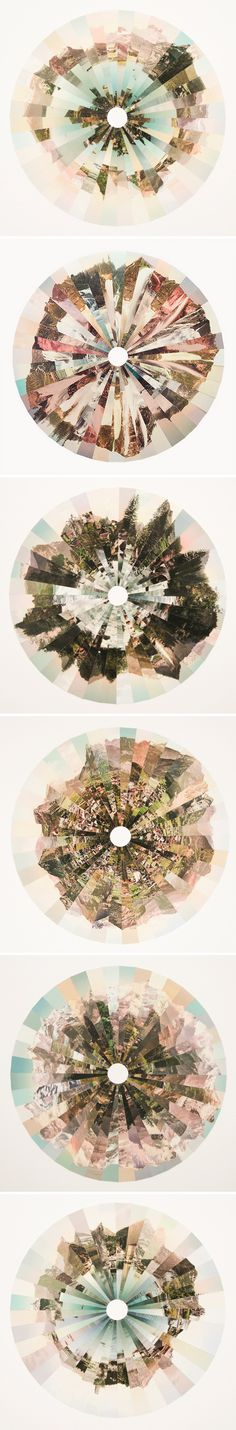 "Fractured landscapes that look, to me, like delicate pastel irises.This is the work of UK based photographer Liz Orton, from Deltiologies – ""a series of collages that both celebrates and challenges the tradition of landscape photography. Collages D'images, Collage Art, Photo Collages, Digital Collage, Photomontage, Landscape Photography, Art Photography, Photography Projects, Art Plastique"