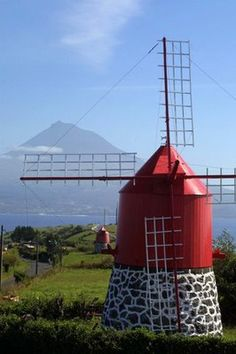 Faial Island ~ Açores, Portugal - Karen Plennes-Both Windmills Beautiful Places To Travel, Wonderful Places, Beautiful World, Spain And Portugal, Portugal Travel, San Miguel Azores, Tilting At Windmills, Water Tower, Le Moulin