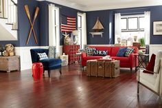 Beach Style Living Room with American Flag   Decor Ideas in  Raleigh. 9 Beach Style Living Room and Gray and Blue Living Room in  Raleigh