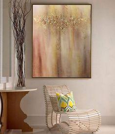 Pintura abstracta oro pintura óleo hoja de oro Original