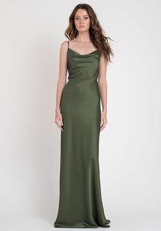Olive Green Bridesmaid Dresses, Modern Bridesmaid Dresses, Green Formal Dresses, Olive Green Dresses, Satin Dresses, Silk Dress, Prom Dresses, Green Satin Dress, Olive Dress