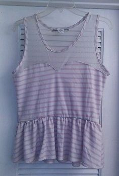 American Rag Cie White & Pink Shirt Top Peplum Sheer Striped Made In USA L