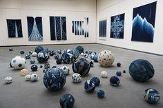 Textiles, Exhibition Display, Nagoya, Soft Sculpture, Conceptual Art, Shibori, Fiber Art, Indigo, Electric