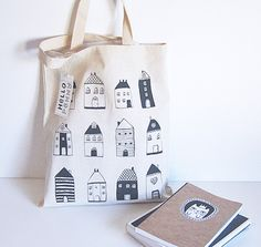 Tote Bag Little Houses Cotton tote by hellopenny on Etsy, $15.00
