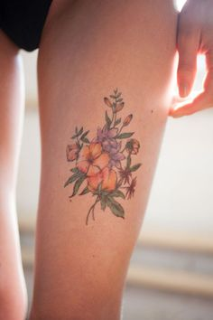 Multicolor Vintage Flower Tattoo - MyTaT