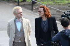 David Tennant and Michael Sheen on the set of     Good Omens