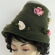 Vintage Hat Roses Margu Spring Netting. Easter Parade Hat. Original hat by Henry Margu Creations.  Green tulle netting adorned with 3 deep