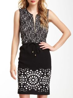 Vince Camuto Pleather Trim Lace Print Sleeveless-  this skirt especially