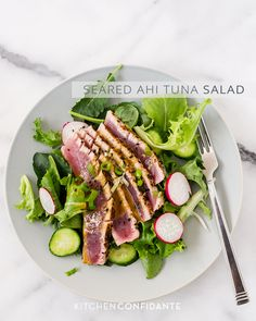 Seared Ahi Tuna Salad | Kitchen Confidante ~ recipe ~ this recipe was delicious exactly as written ~ loved it!!  Just lightly press seasoning mix onto tuna--very intense flavor profile