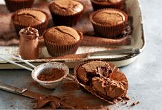 Nutella fans - this recipe is for you! With gooey centres oozing with hazelnut spread, these 3-ingredient choc cupcakes are an easy baking recipe you'll love.