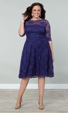 Engagement photo or rehearsal dinner dress? Check out the deal on Scalloped Luna Lace Dress at Kiyonna Clothing