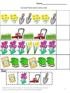 Planting a Flower Garden 18 page Cut and Paste Worksheet Set-All kids love playing in the dirt. And planting a flower garden is a constructive way for them to play in the dirt. This packets contains 18 cut and paste worksheets using a flower garden theme. Kindergarten Special Education, Kindergarten Math, Spring Activities, Preschool Activities, Cut And Paste Worksheets, Preschool Garden, Spring School, Spring Plants, Spring Garden