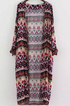 Multicolor Long Sleeve Zigzag Print Kimono 19.33