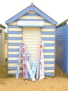 lovely stripy beach hut - my garden shed is painted exactly the same :) Beach Hut Shed, Beach Hut Decor, Beach Cottage Decor, Beach Cabana, Seaside Beach, Beach Art, Blue Beach, Beach Hut Interior, Hut House