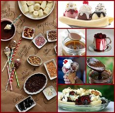 DIY Banana Split Bar. For when my girls have sleep overs!!