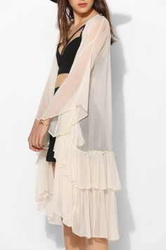 Beige Long Sleeve Ruffle Layered Longline Kimonos 19.69