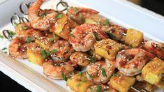 Grilled Teriyaki Shrimp and Pineapple Skewers Teriyaki Shrimp, Grilled Teriyaki Chicken, Grilled Meat, Teriyaki Skewers, Grilled Vegetables, Grilled Shrimp Recipes, Seafood Recipes, Shrimp Appetizers, Fish Recipes