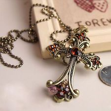 Women Elegant Vintage Retro Fashion Crystal Pendant Cross Necklace Sweater Gift