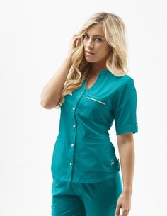 Jaanuu Button-Down top in teal.