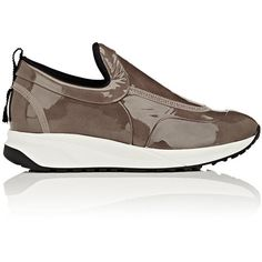 Maison Margiela Women's Women's Patent Leather Slip-On Sneakers featuring polyvore, women's fashion, shoes, sneakers, nude, round toe sneakers, patent sneakers, pull-on sneakers, slip on shoes and nude shoes