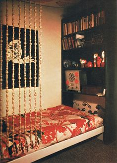 I wish I could make my own bookshelf headboard for my bed in my college apartment right now!