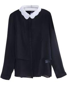 Black Contrast Collar Long Sleeve Chiffon Blouse US$22.03