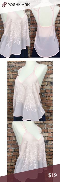 """Lush Pink Tank w/ Cage back SZ XS Beautiful pale pink with floral detail. Cage back.   100% Polyester  Top of shoulder strap to bottom hem: 23.5"""" Underarm to underarm: 17"""" Lush Tops Tank Tops"""