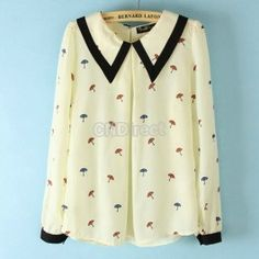 $9.00 Womens Doll Collar Sweet Small Umbrella Pattern Long Sleeve Chiffon Shirt Blouse