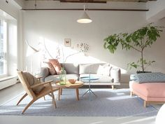 Through Rose Coloured Glasses & My Wedding Dress. Mute pastel colors for this escandinavian living room.
