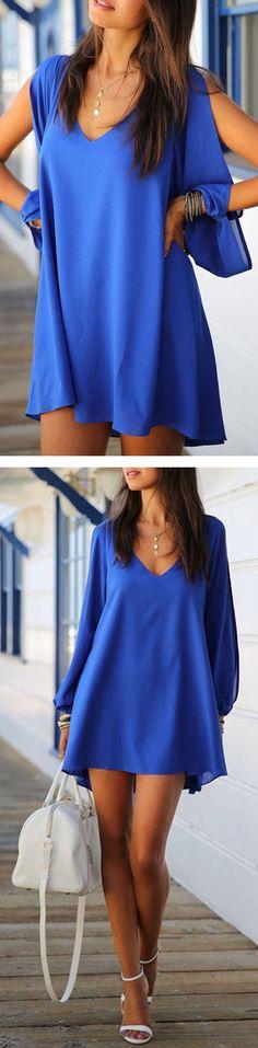 Cobalt Blue Slit Sleeve Hi-lo Dress. Great as beachwear
