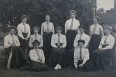 Cricket team of Newnham College Cambridge, 1908 with suffragist, Ray Strachey, centre.  © Camphill Village Trust. Source The Women's Library.