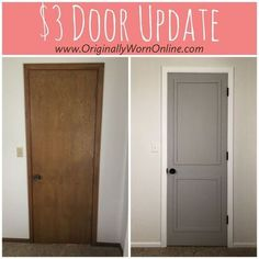 Diy Interior Doors, Interior Door Colors, Painting Interior Doors, Painting Doors, Diy Interior Door Makeover, How To Paint Doors, Replacing Interior Doors, Painted Bedroom Doors, Farmhouse Interior Doors