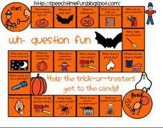 Speech Time Fun: Halloween Wh- Board Game (Freebie)