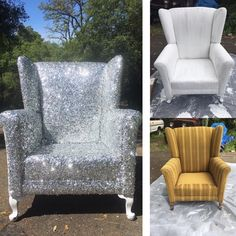 DIY chair makeover... glam style! Painted the chair with semi gloss exterior paint. Then used modge podge and painted it on in patches and dropped the glitter on the glue and then pressed it down. And then modge podge on top of the glitter to hold the glitter down.