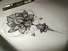 Black Mandala Flower Tattoo On Forearm