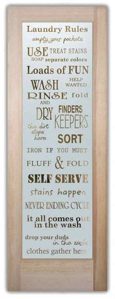 If you're looking to spruce up your laundry room, an etched, frosted glass door by Sans Soucie is the perfect answer. Adding a truly unique element and level of luxury to your laundry room, with San (Mix Fonts Quotes) Door Glass Inserts, Glass Front Door, Glass Doors, Front Doors, Eclectic Interior Doors, Interior Barn Doors, Glass Design, Door Design, Glass Wine Cellar