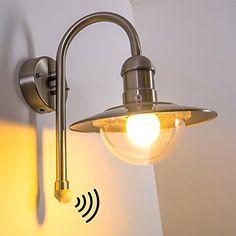 Luxus LED Haus Wand Außen Lampe 11 W Edelstahl IP44 Terrasse Balkon Acryl klar