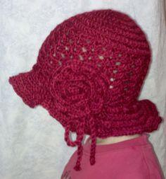 virkattu ruusuhattu - crochet rose brimhat