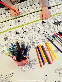 Kids can color this tablecloth, how fun!