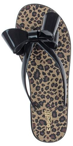 a57e469e0357 Capelli New York Jelly Bow   Thong Ladies Flip Flop On A Leopard Print Sock  Black Combo